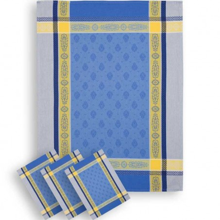 torchon bleu en tissé jacquard made in france