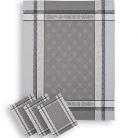 grey tea towels in woven jacquard from france