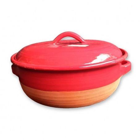 Cocotte en terre cuite rouge en poterie de Vallauris
