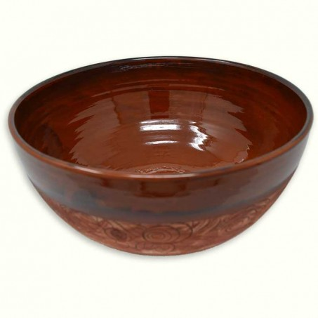 Large salad bowl in terracotta, Vallauris pottery