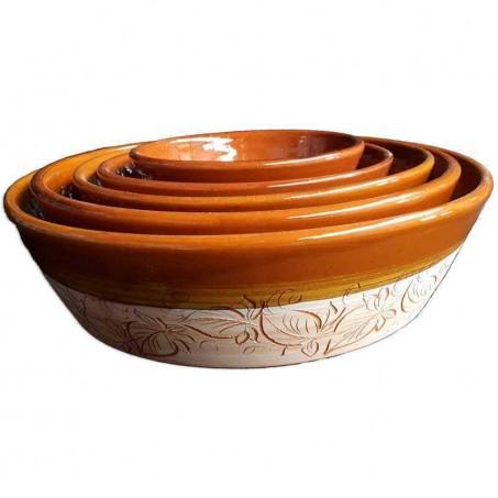 Saladier en terre cuite de Vallauris avec decor