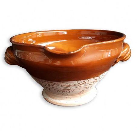 Tian provençal décoré en poterie de Vallauris
