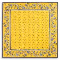 tapis table carré boutis jaune bleu