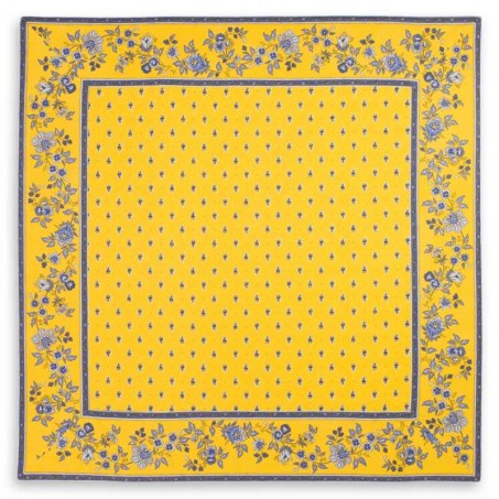 tapis table carré boutis jaune bleu