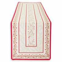 Chemin de table tissé Jacquard ecru rouge