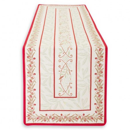 table runner ecru red
