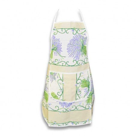 Floral apron printed Bouquet de lavande ecru color