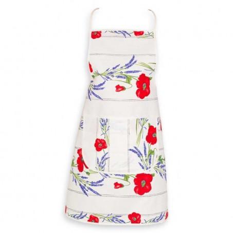 Female apron printed cotton poppies ecru