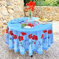 Nappe ronde en coton, imprimé provençal Coquelicots et lavandes bleu ciel