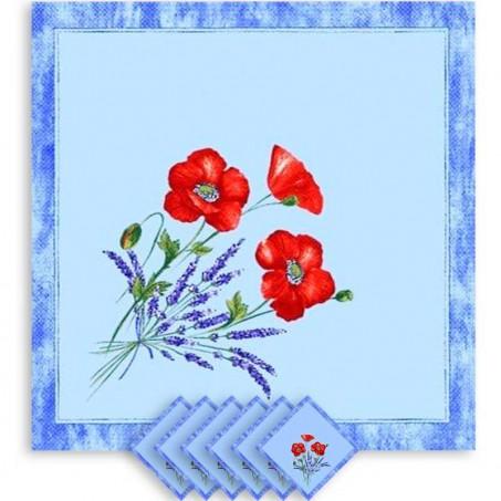Floral napkins, cotton printed Coquelicots Lavandes blue