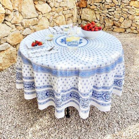 Nappe ronde en coton, imprimé provençal Bastide blanc bleu