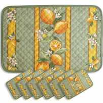 placemats print Citron green