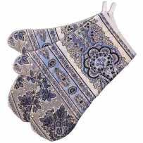 Double oven mitt, Navy blue Bastide print, Marat d'Avignon (x2)