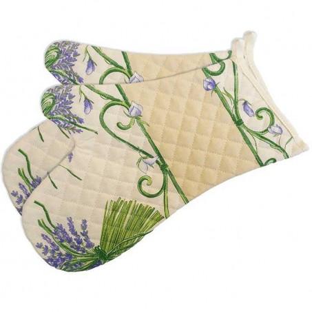 Double oven gloves, quilted cotton Bouquet de lavande ecru (x2)