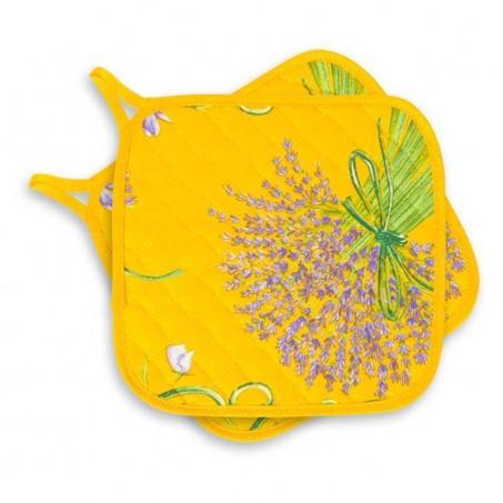 Maniques jaunes matelassées imprimé Bouquet de lavande