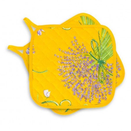 Yellow Quilted Bouquet de lavande pot holders