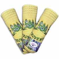 Torchon essuie-mains en nid d'abeille, broderie Huile d'olive, couleur jaune (x3)
