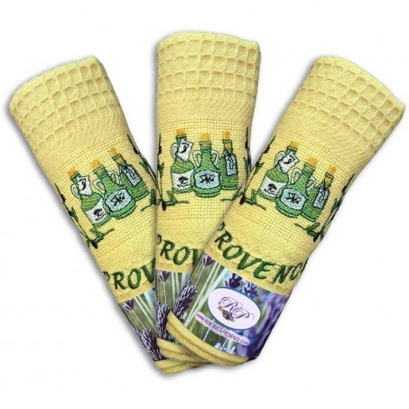 Kitchen dish towels, honeycomb weave, pattern Olive Oil in yellow (x3)