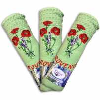 Kitchen towels and dishcloths, pattern Coquelicots in green (x3)