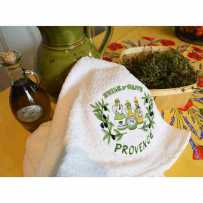 Kitchen hand towels, embroidery Huile d'olive (x2)