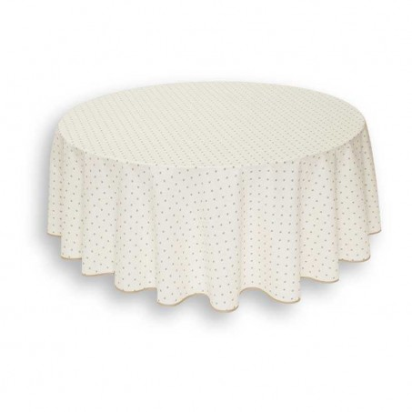 Round table covers printed Calissons ecru beige