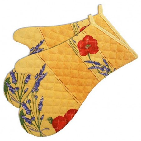 Oven mitts, yellow cotton printed Coquelicots (x2)