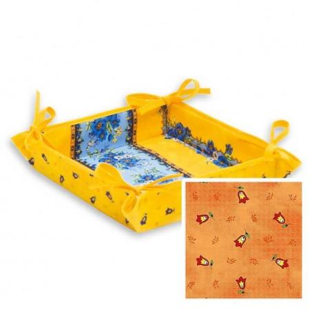 Corbeille à pain Tradition en tissu imprimé provençal orange