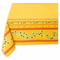 Nappe carrée 150x150 anti tache, imprimé Ramatuelle jaune rouge