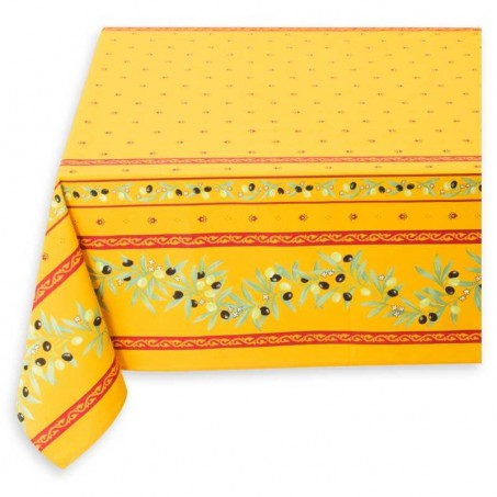 Square tablecloth, Ramatuelle print yellow red