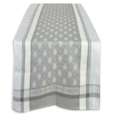 gray table runner in woven jacquard