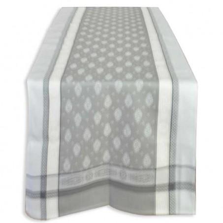 chemin de table tissu jacquard gris