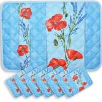 Kitchen table placemats Coquelicots blue