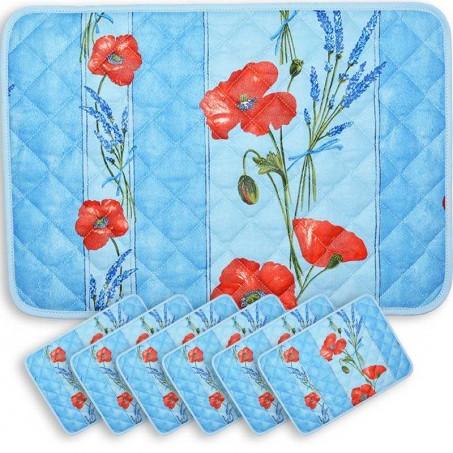 Sets de table matelassé, imprimé Coquelicots Lavandes bleu