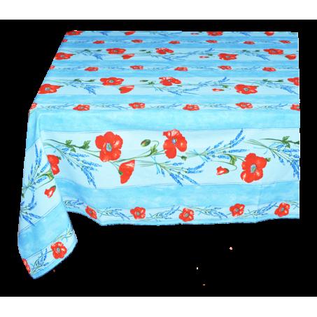 Floral rectangle tablecloth, Coquelicots Lavandes blue