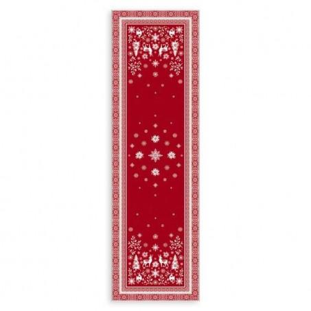chemin de table noel rouge et blanc