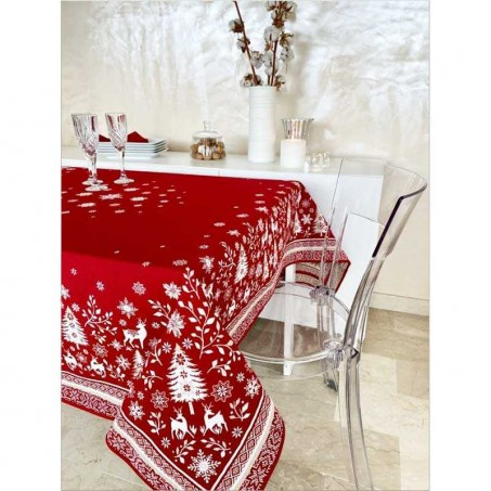 christmas linen tablecloth