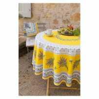 nappe provençale anti tache ronde 180 jaune