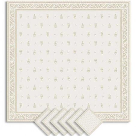 Serviettes de table carrées ecru beige en tissu, tissé Jacquard