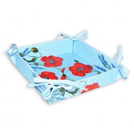 Corbeille à pain provençal Coquelicots Lavandes en tissu imprimé bleu clair