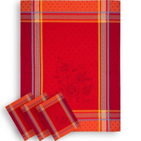 French kitchen towels in red