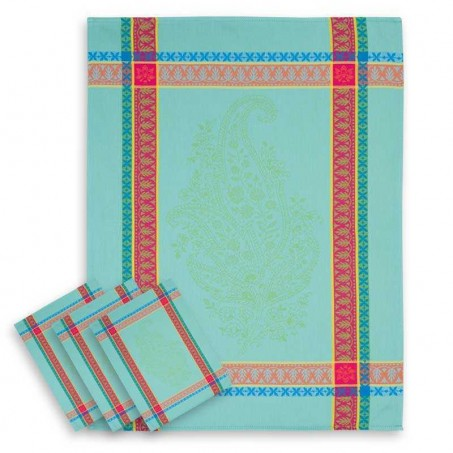 Cotton tea towels Jacquard turquoise