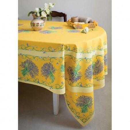 Nappe rectangulaire motif placé en coton, imprimé Bouquet de lavande