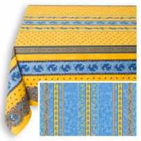 Nappe carrée en coton imprimé tradition rayure bleu