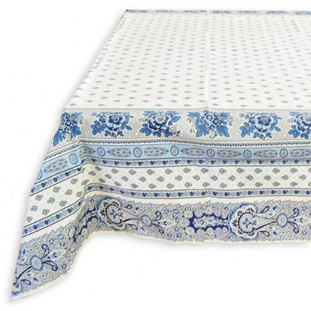 Rectangular tablecloth white and blue, coated coton and striped