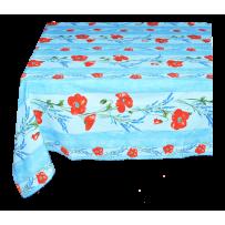 Nappe rectangulaire en coton, imprimé Coquelicots & lavandes bleu