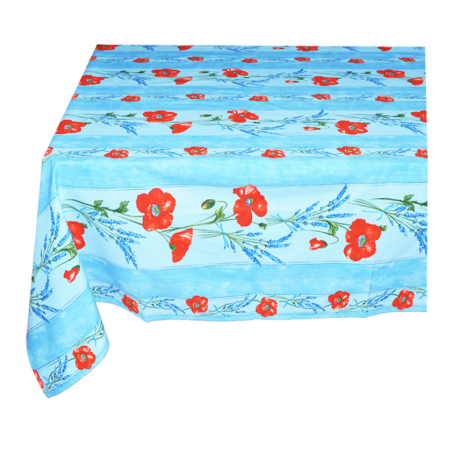 Floral rectangle tablecloth in blue