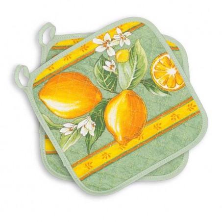 Manique tissu provençal Citron vert