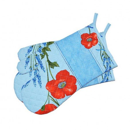 Oven mitts, cotton blue color