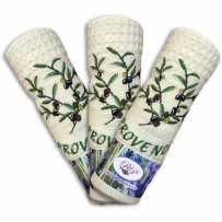 Lot torchons cuisine écru en nid d'abeille, motif brodé Olive (x3)