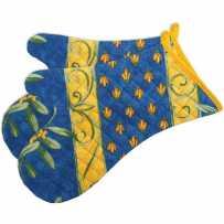 Gants anti chaleur bleu, imprimé Cigales